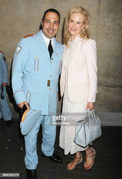 Ossama Farouk and Nicole Kidman pose backstage at 'The Band's Visit' on Broadway at The Barrymore Theatre on July 14 2018 in New York City