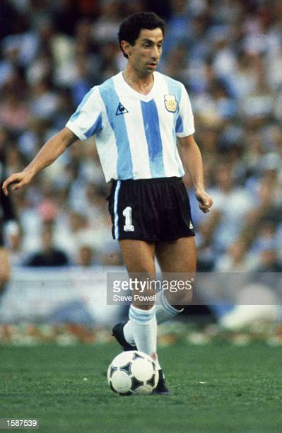 Ossie Ardiles of Argentina runs with the ball during the FIFA World Cup Finals 1982 Group C match between Argentina and Belgium held on June 13 1982...