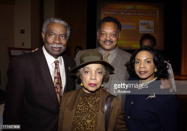 Ossie Davis with wife Actor/Activist Ruby Dee Jesse Jackson and Cheryl Brown Henderson of The Brown Foundation and daughter of Plaintiff Brown at...