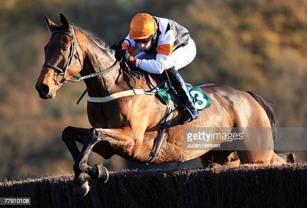 Ossmann ridden by jockey Wayne Hutchinson clears an early fence during The Lingfield Park For Christmas Parties Handicap Steeple Chase at Lingfield...