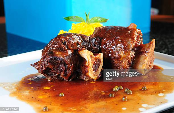 Ossobuco a meat dish at ITC Sonar on March 25 2015 in Kolkata India Ossobuco or osso buco is Italian for 'bone with a hole' a reference to the marrow...
