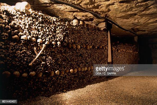 Ossuary in the catacombs of Paris IledeFrance France