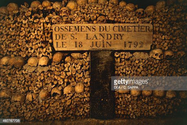 Ossuary in the Paris catacombs IledeFrance France