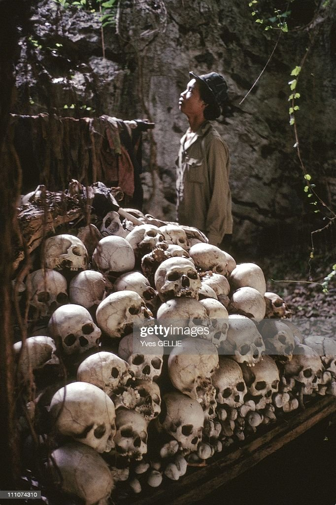 Ossuary of mausoleum dedicated to Cambodian genocide committed by Pol Pot's regime, in the cave of a Buddhist temple in Battambang region in Cambodia in 1997.
