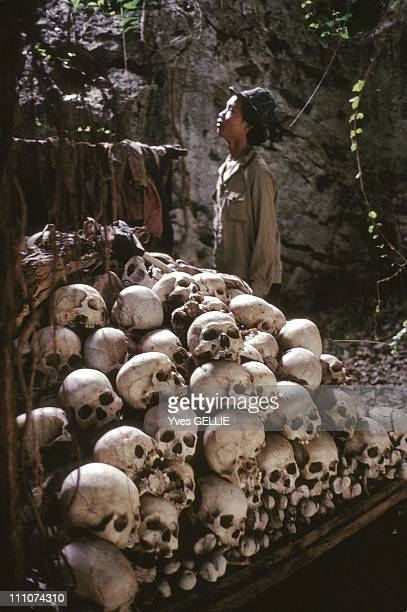 Ossuary of mausoleum dedicated to Cambodian genocide committed by Pol Pot's regime in the cave of a Buddhist temple in Battambang region in Cambodia...