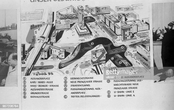 DDR / 1969 / Ostberlin / Plan Bebauung Alexanderplatz mindere technische Qualität bedingt durch historische Vorlage