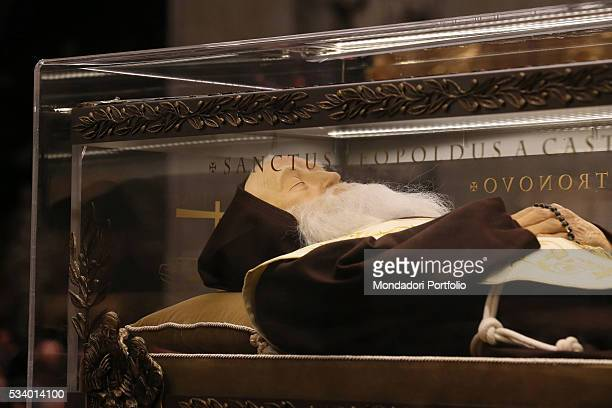 Ostension of the shrine with the remains of Saint Leopold Mandic in the nave of Saint Peter's Basilica Vatican City 5th February 2016