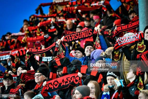 Ostersund fans cheer prior to the UEFA Europa League group J football match between Ostersund FK and Hertha Berlin in Ostersund Sweden on September...