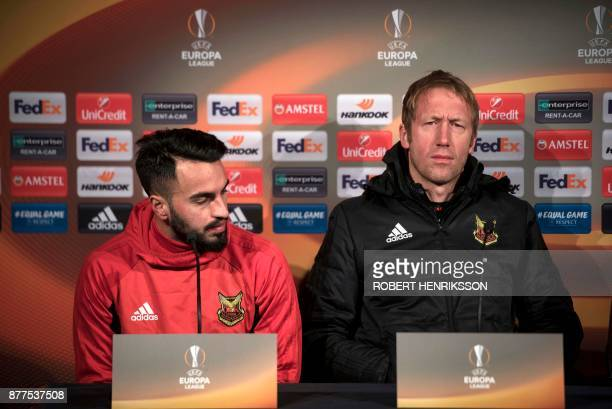 Ostersund football club's player Brwa Nouri and head coach Graham Potter give a press conference on November 22 2017 in Ostersund Sweden on the eve...