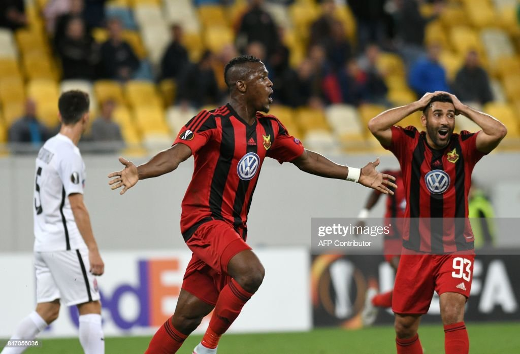 Ostersund forward Salisu Abdullahi Gero (C) celebrates after scoring during the UEFA Europa League Group J football match between Zorya Lugansk and Ostersunds FK in Lviv on September 14, 2017. / AFP PHOTO / Genya SAVILOV