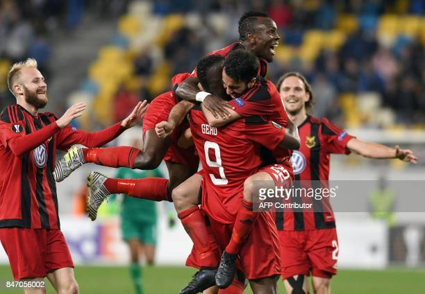 Ostersund forward Salisu Abdullahi Gero celebrates with teammates after scoring during the UEFA Europa League Group J football match between Zorya...