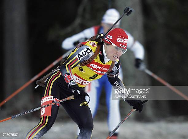 Overall World Cup leader Andrea Henkel of Germany skis on her way to a sixth place in the women's 10 km sprint in the World Cup Biathlon in Ostersund...