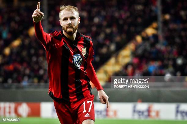 Ostersund's Curtis Edwards celebrates after scoring the opening goal during the UEFA Europa League football match Ostersund FK v Zorya Lugansk on...