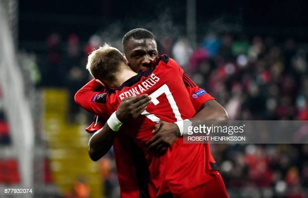 Ostersund's Curtis Edwards is hugged by Salisu Abdullhi Gero after scoring during the UEFA Europa League football match Ostersund FK v Zorya Lugansk...