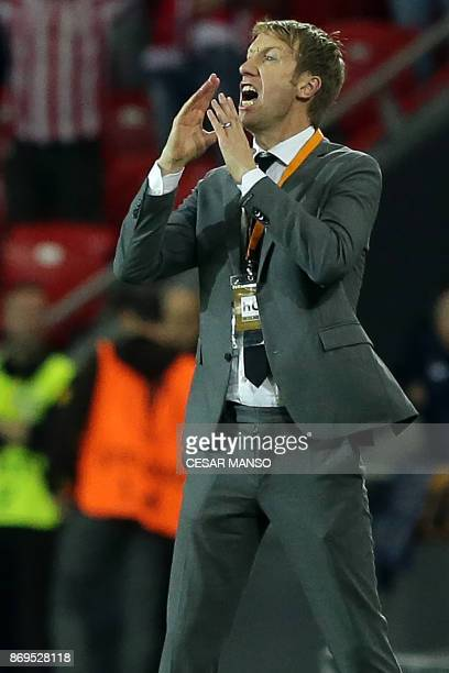 Ostersunds' English coach Graham Potter reacts during the UEFA Europa League group F football match Athletic Bilbao vs Ostersunds at the San Mames...