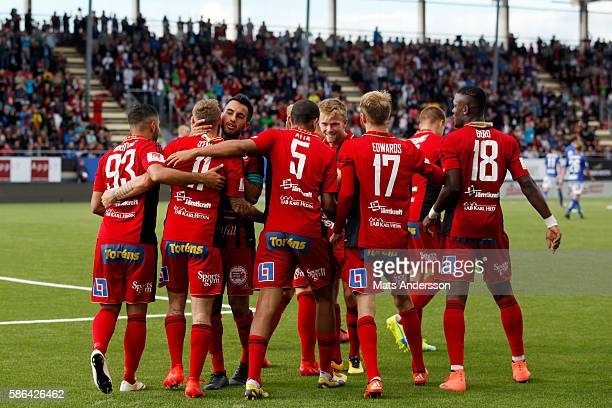 Ostersunds FK celebrates after scoring Andrew Stadler of Ostersunds FK scores 10 during the allsvenskan match between Ostersunds FK and GIF Sundsvall...