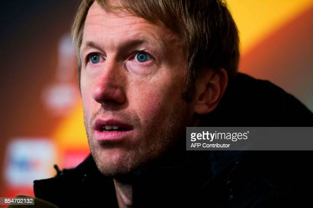 Ostersunds FK coach Graham Potter attends a press conference at Jamtkraft Arena in Ostersund, Sweden, on September 27 on the eve of their UEFA Europa...