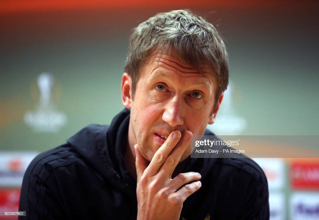 Ostersunds FK manager Graham Potter during the press conference at the Emirates Stadium, London. PRESS ASSOCIATION Photo. Picture date: Wednesday February 21, 2018. See PA story SOCCER Ostersunds. Photo credit should read: Adam Davy/PA Wire