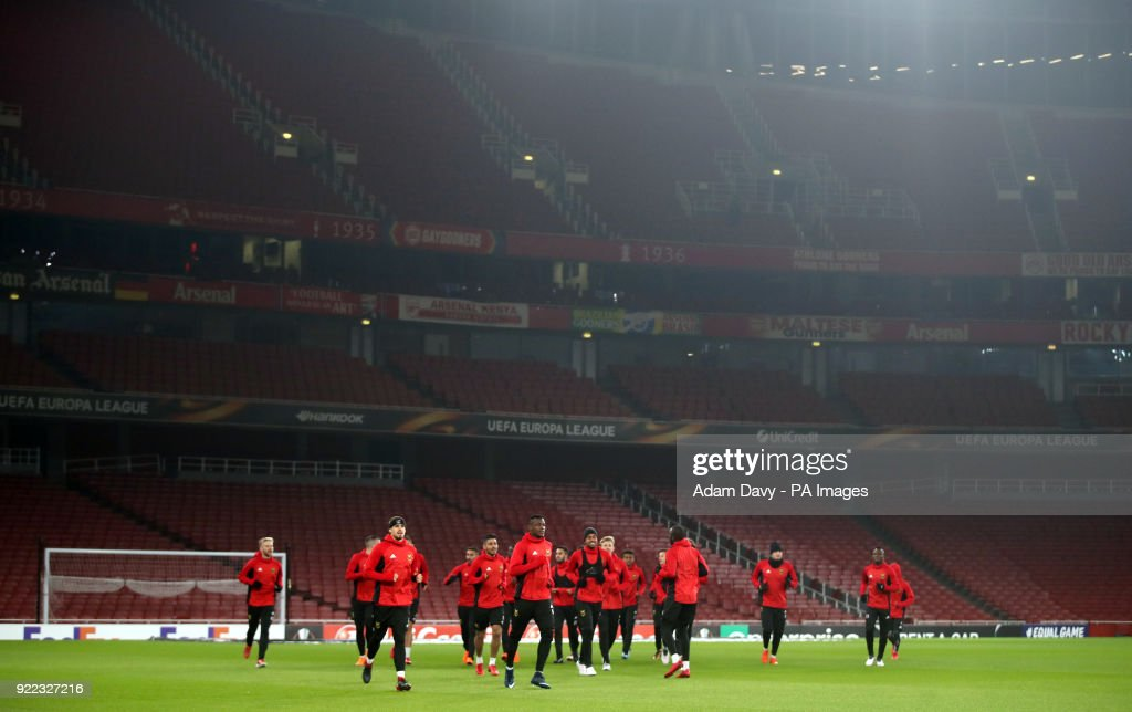 Ostersunds FK players during the training session at the Emirates Stadium, London.
