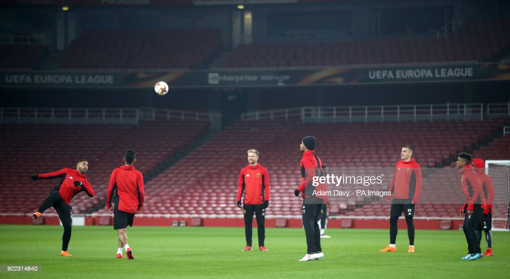Ostersunds FK's Brwa Nouri (left) and team-mates during the training session at the Emirates Stadium, London.