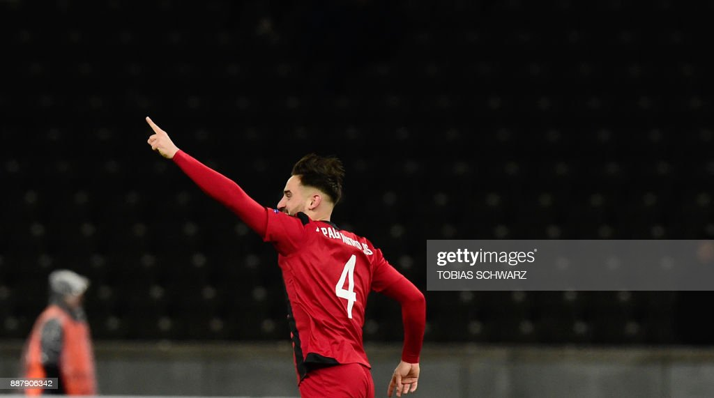 Ostersund's Sotirios Papagiannopoulos celebrates after socring the 0-1 during the UEFA Europa League group J football match Hertha BSC Berlin vs Ostersund FK on December 7, 2017 in Berlin. PHOTO / Tobias SCHWARZ