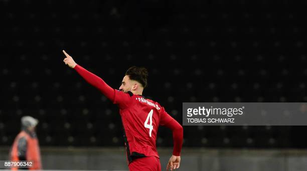 Ostersund's Sotirios Papagiannopoulos celebrates after socring the 01 during the UEFA Europa League group J football match Hertha BSC Berlin vs...