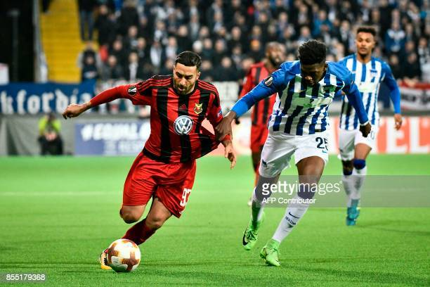 Ostersund's Swedish forward Saman Ghoddos and Berlin's German defender Jordan Torunarigha vie for the ball during the UEFA Europa League group J...