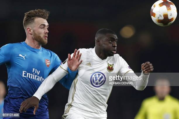 Ostersunds' Swedish midfielder Ken Sema vies with Arsenal's English defender Calum Chambers during the second leg of the Europa League Round of 32...