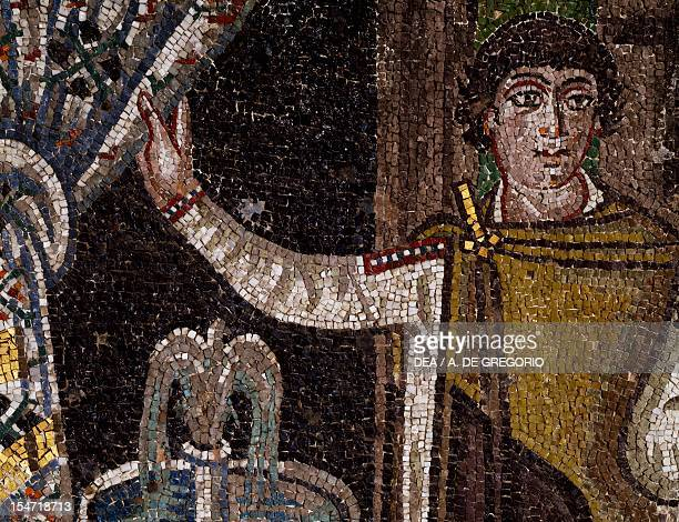 Ostiarius opening a curtain detail from Theodora and her entourage mosaic south wall of the apse Basilica of San Vitale Ravenna EmiliaRomagna Italy...