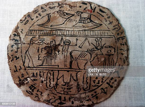 Ostrakon or sheet of papyrus with adoration scene Egyptian civilisation New Kingdom Cairo Egyptian Museum