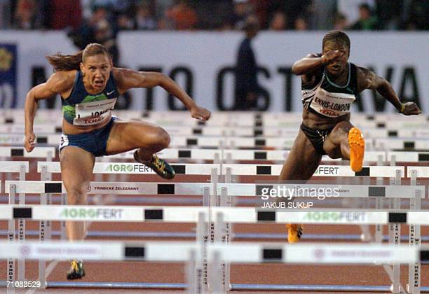 Ostrava, CZECH REPUBLIC: Lolo Jones of USA competes in 110m hurdles women with Danielle Carruthers of USA during the IAAF World Athletic tour Golden...