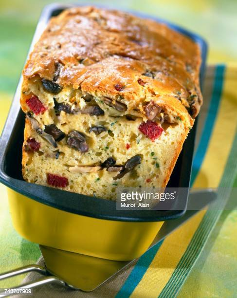 ostrich bacon and black trumpet mushroom cake - salted stock pictures, royalty-free photos & images