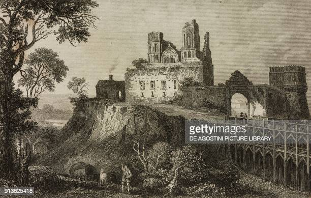 Ostroh Castle Ukraine engraving by Lemaitre Thienon and Cholet from Pologne by Charles Foster L'Univers pittoresque Europe published by Firmin Didot...