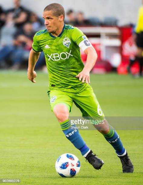 Osvaldo Alonso of Seattle Sounders during Los Angeles FC's MLS match against Seattle Sounders at the Banc of California Stadium on April 29 2018 in...