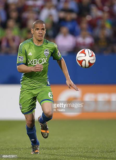 Osvaldo Alonso of Seattle Sounders FC pushes the ball up the field at Toyota Stadium on April 12 2014 in Frisco Texas