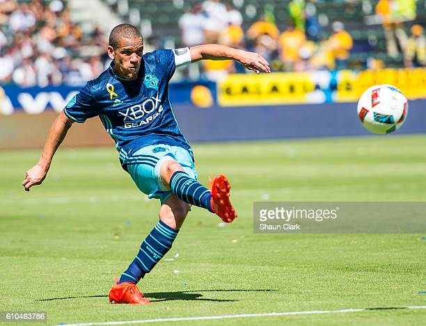 Osvaldo Alonso of Seattle Sounders takes a shot during Los Angeles Galaxy's MLS match against Seattle Sounders at the StubHub Center on September 25...