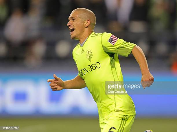 Osvaldo Alonso of the Seattle Sounders FC celebrates after scoring the second goal against the Chicago Fire during the 2011 Lamar Hunt US Open Cup...