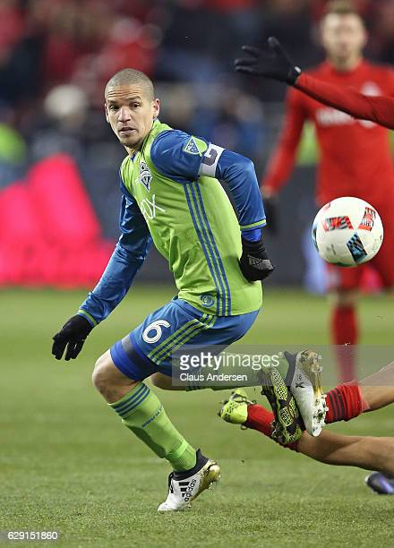 Osvaldo Alonso of the Seattle Sounders plays against the Toronto FC in the 2016 MLS Cup at BMO Field on December 10 2016 in Toronto Ontario Canada...