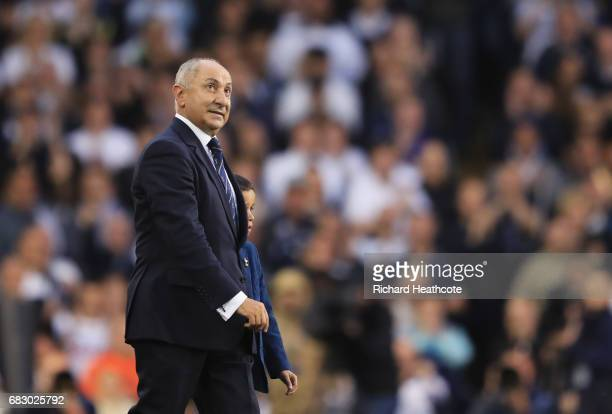 Osvaldo Ardiles ex Tottenham Hotspur player walks out onto the pitch during the closing ceremony after the Premier League match between Tottenham...