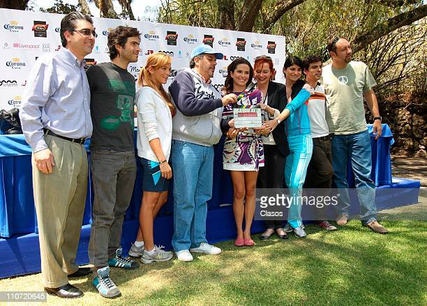Osvaldo Benavides Begona Narvaez Joaquin Bissner Karla Souza Monica Dionne Maria Aura and Guillermo Murray attend to the launching of the movie Me...