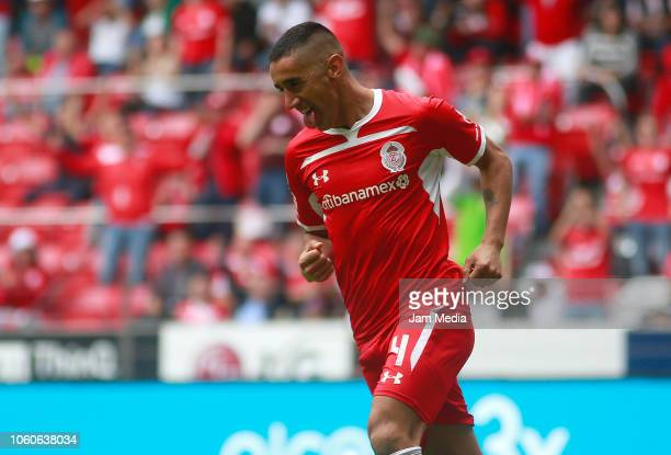 Osvaldo Gonzalez of Toluca celebrates after scoring the second goal of his team during the 14th round match between Toluca and Queretaro as part of...