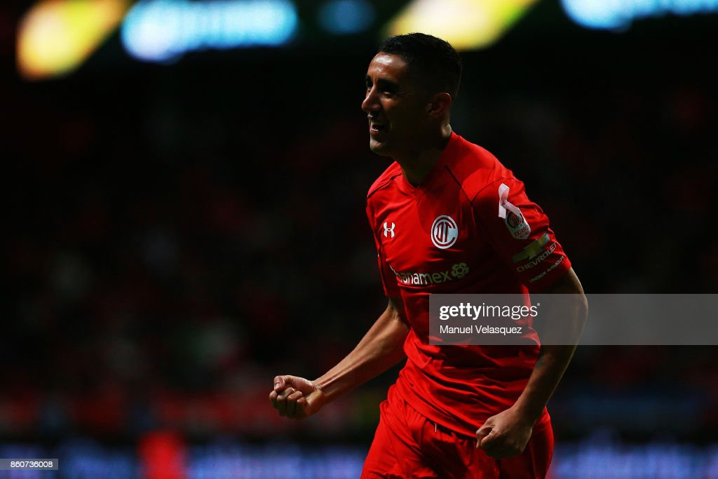 Osvaldo Gonzalez of Toluca celebrates after scoring the second goal of his team during the 13th round match between Toluca and Lobos BUAP as part of the Torneo Apertura 2017 Liga MX at Nemesio Diez Stadium on October 11, 2017 in Toluca, Mexico.