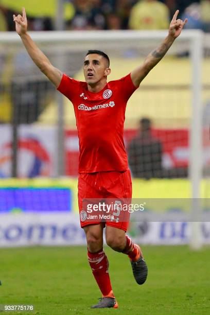 Osvaldo Gonzalez of Toluca celebrates after scoring the second goal of his team during the 12th round match between America and Toluca as part of the...