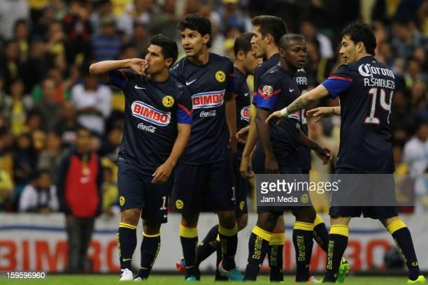 Osvaldo Martinez of America celebrates a scored goal against Altamira during the Clausura 2013 Copa MX at Azteca Stadium on january 16 2013 in Mexico...