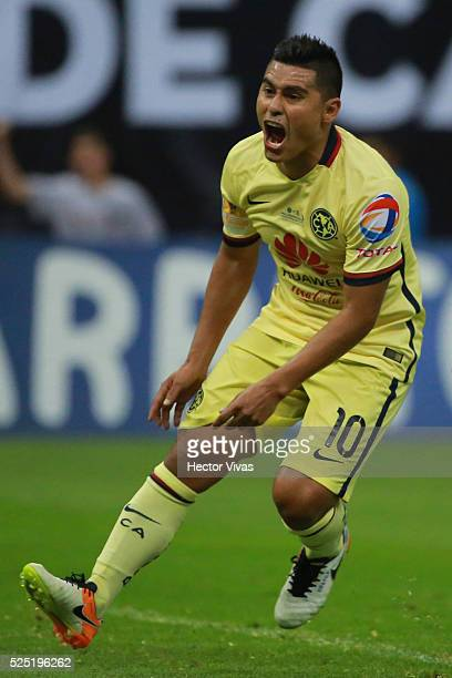 Osvaldo Martinez of America celebrates after scoring the second goal of his team during the Final second leg match between America and Tigres UANL as...