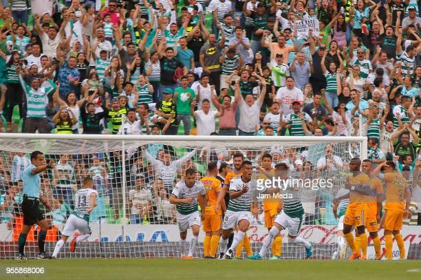 Osvaldo Martinez of Santos celebrates after scoring the first goal of his team during the quarter finals second leg match between Santos Laguna and...