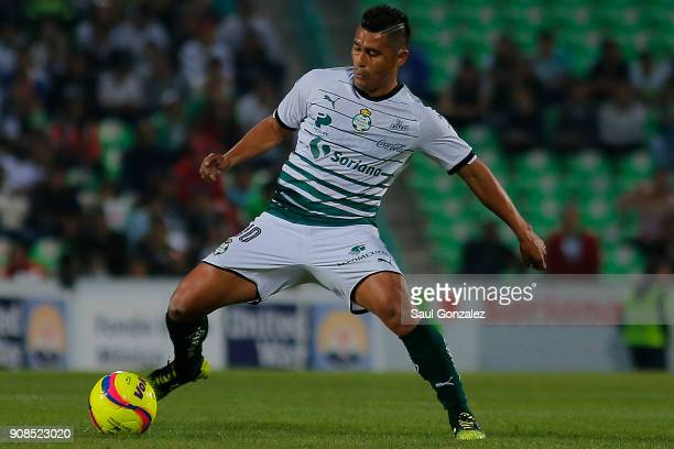 Osvaldo Martinez of Santos plays the ball during the 3rd round match between Santos Laguna and Morelia as part of the Torneo Clausura 2018 Liga MX at...