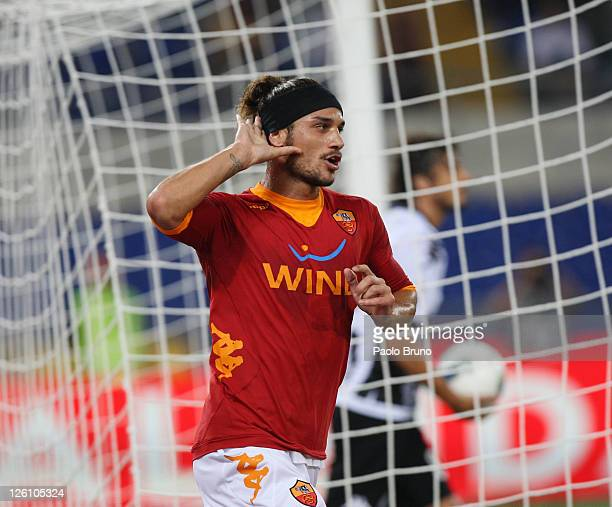 Osvaldo of AS Roma celebrates after scoring the opening goal during the Serie A match between AS Roma and AC Siena at Stadio Olimpico on September...