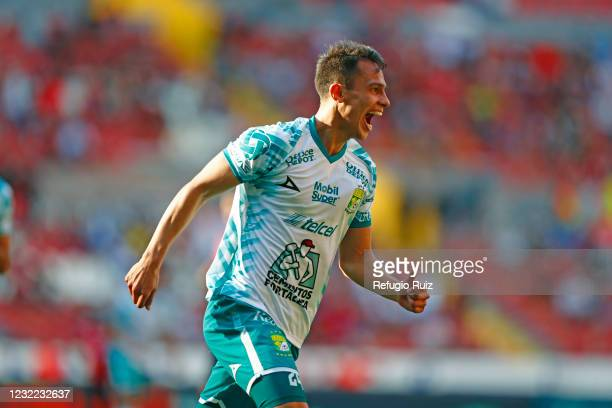 Osvaldo Rodríguez of Leon celebrates his team's third goal during the 14th round match between Atlas and Leon as part of the Torneo Guard1anes 2021...