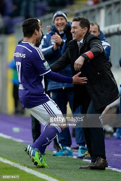 Oswal Alvarez of RSC Anderlecht celebrates and Head coach Besnik Hasi of RSC Anderlecht Oswal Alvarez of RSC Anderlecht celebrates during the Jupiler...